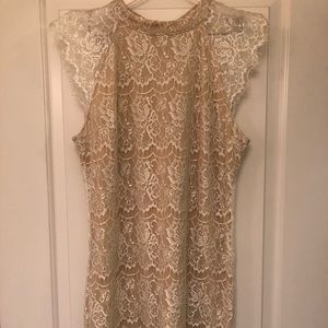 White and tan Lace dress